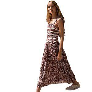 Free People Isla Smocked Print Midi Dress